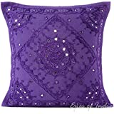 """EYES OF INDIA - 16"""" Purple Mirror Embroidered Decorative Couch Cushion Pillow Throw Cover Boho Bohemian Indian"""