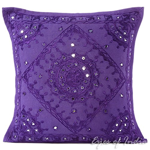 """EYES OF INDIA - 16"""" PURPLE MIRROR EMBROIDERED DECORATIVE COU"""