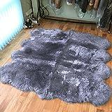 Cheap Longfeng Genuine Sheepskin Rug Grey Octo Pelt Natural Fur – Sheepskin Rug Pad For Bedroom living room (Octo/6ft x 7.5ft, Grey)