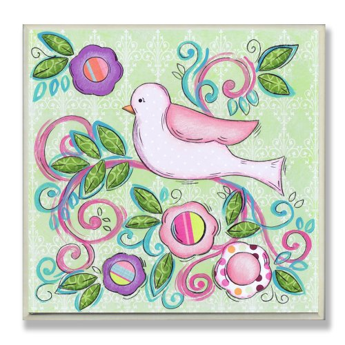 The Kids Room by Stupell Pink Bird Facing Left on a Floral Branch Square Wall Plaque by The Kids Room by Stupell