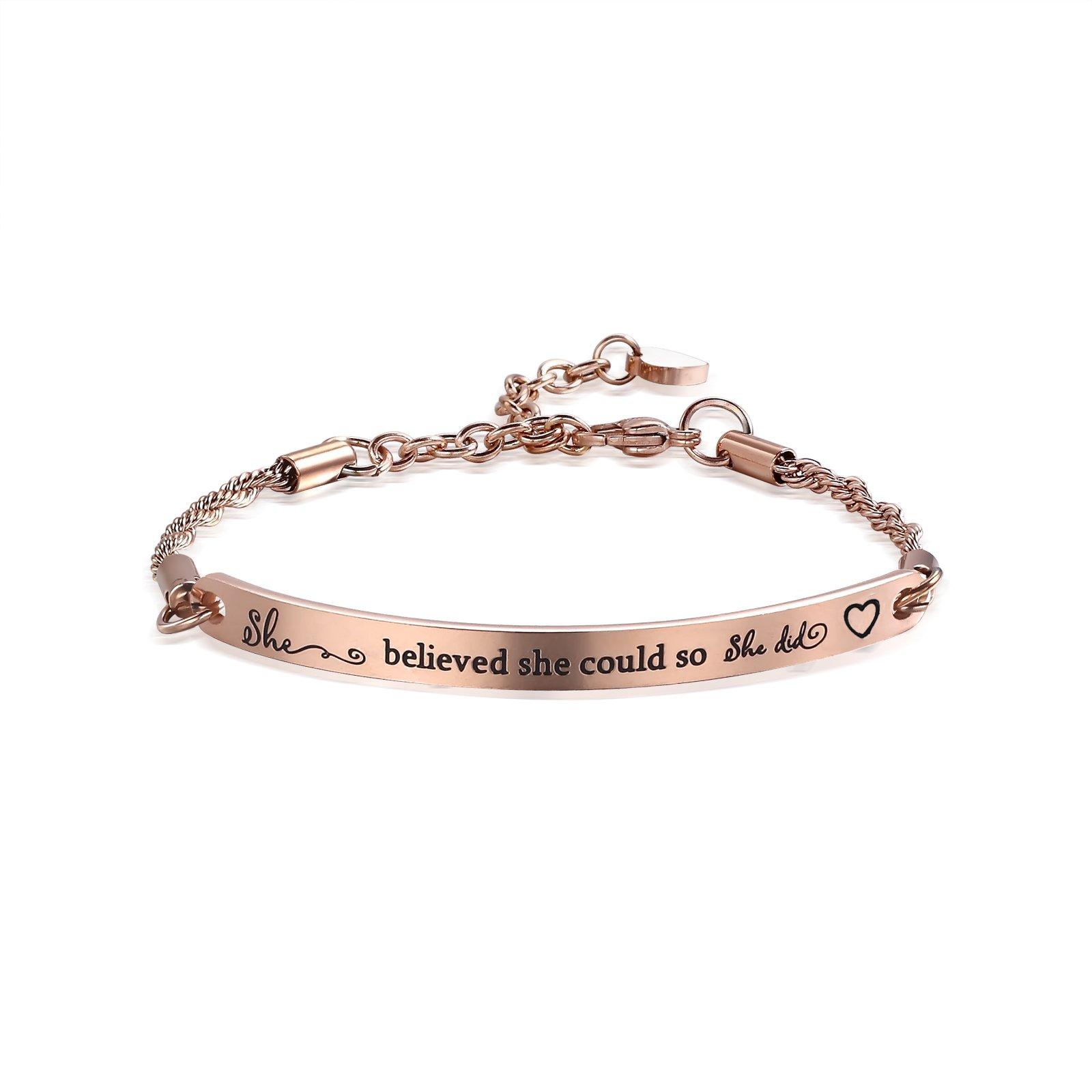 ivyAnan Inspirational Engraved Bracelet''She believed she could so she did'' Quote Bar Bracelet for women, girls, friendship, gift jewlery (Rose Gold-She Believed She Could)