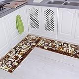 Kitchen Rugs Decor Carvapet 2 Piece Non-Slip Kitchen Mat Rubber Backing Doormat Runner Rug Set, Coffee Design (Brown 15