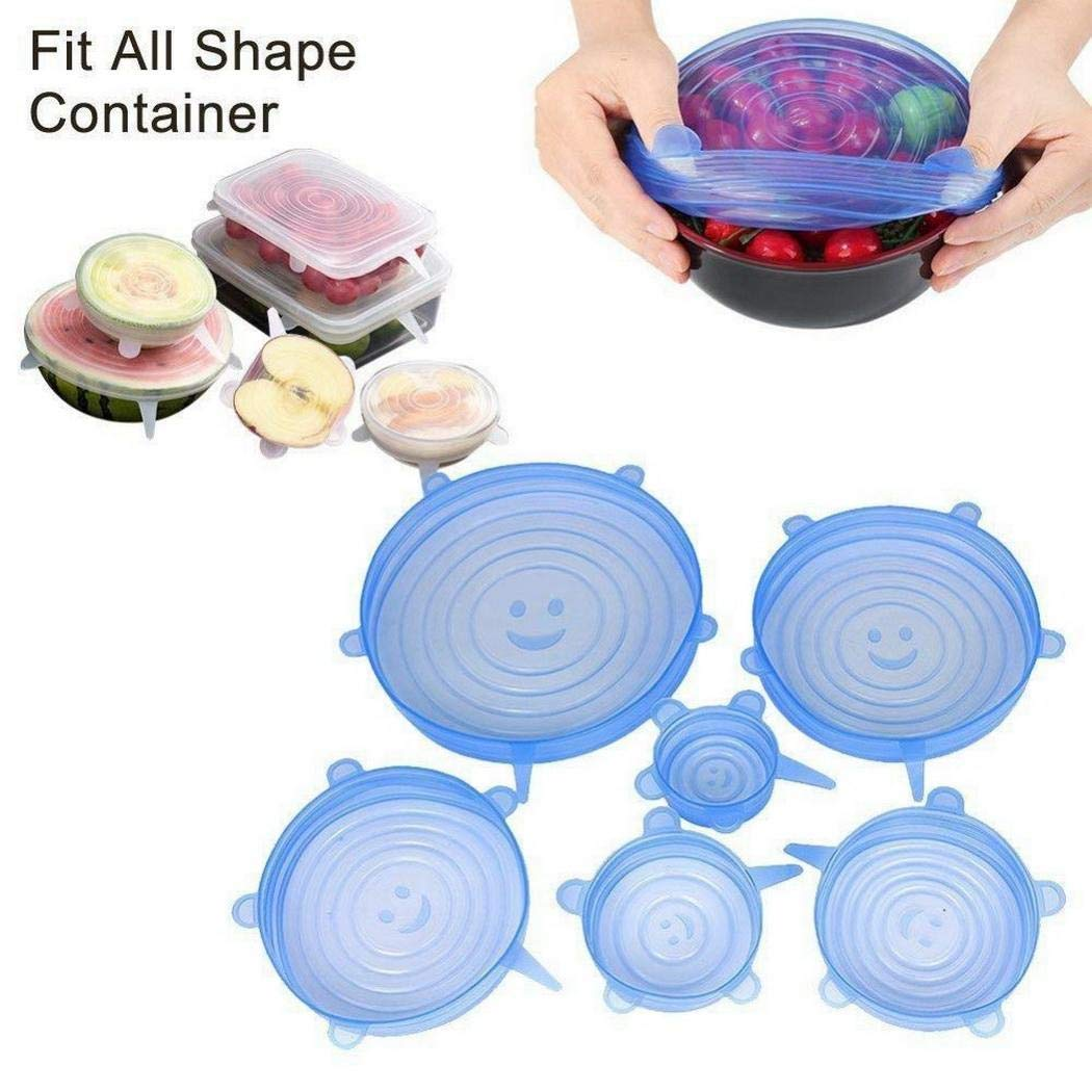 Silicone Stretch Lids Set 6PCS - 6PCS Silicone Lids Silicon cover For Various Of Containers Keeping Food Fresh Dishwasher And Freeze