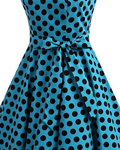 Rockabilly Robe de Vintage Soire Hepburn 50 Bleu Anne Cocktail 1950's blanc Audrey Rtro Bbonlinedress YxXnPH11