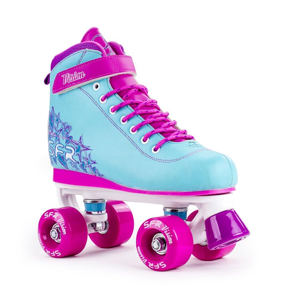 SFR Vision II Aqua azul/rosa Edición limitada niños Quad patines Stateside