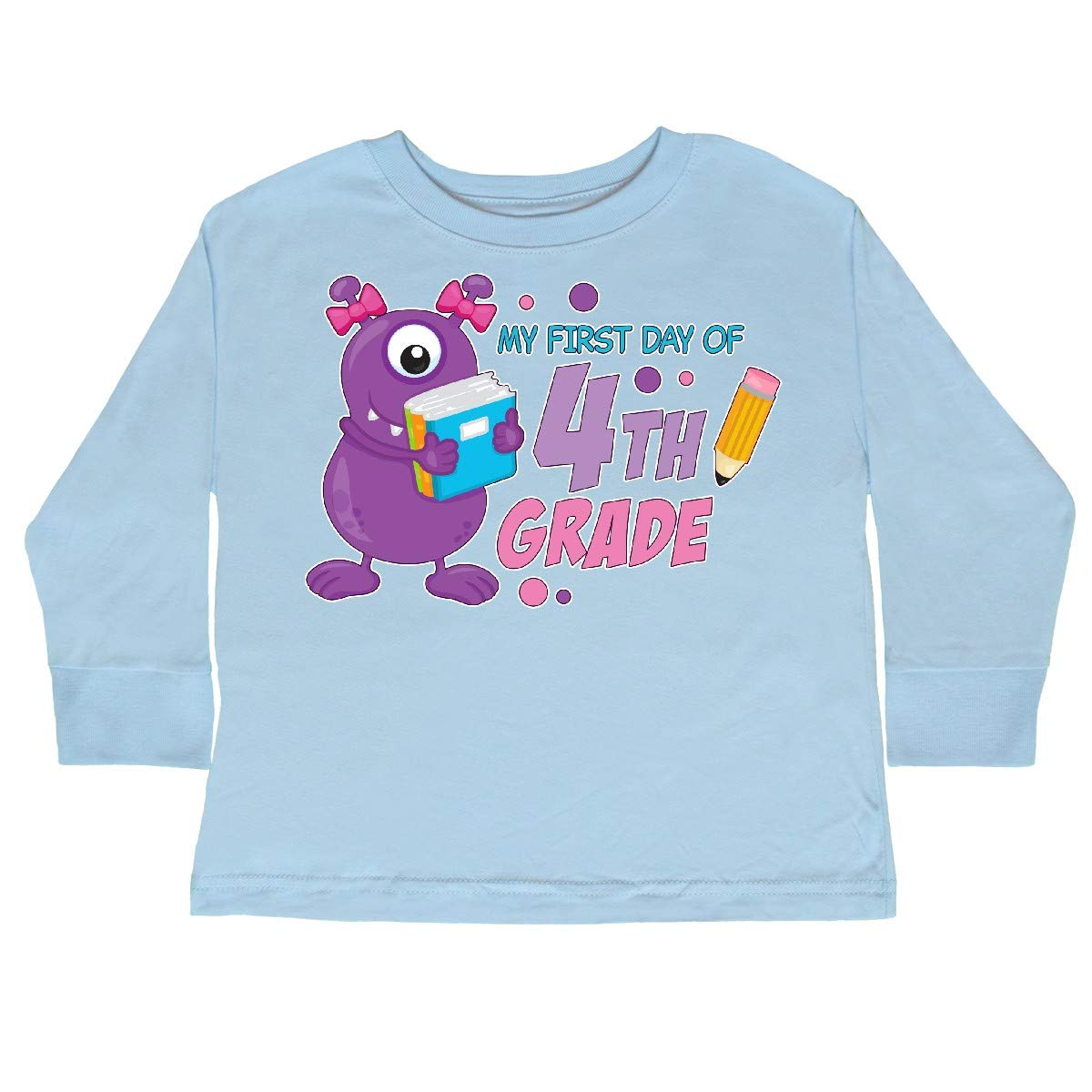 inktastic My 1st Day of 4th Grade with Cute Purple Toddler Long Sleeve T-Shirt