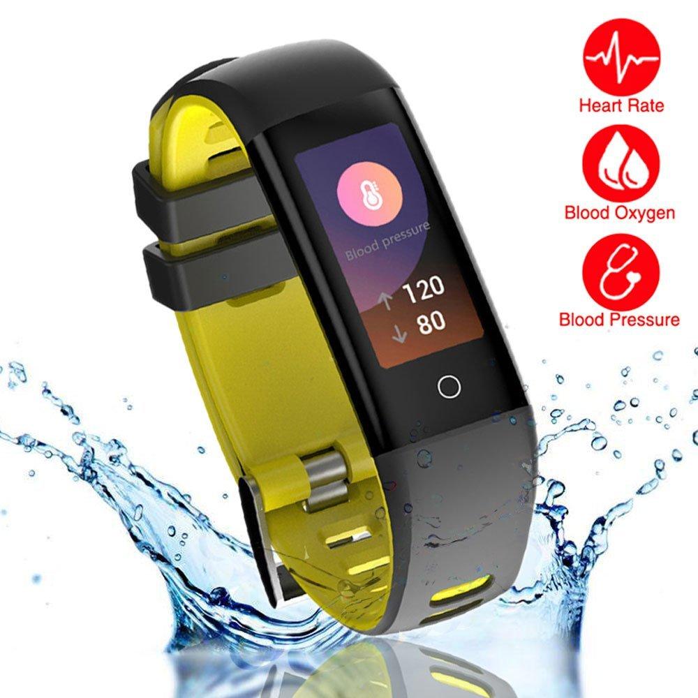 読み取り新しいスマートフィットネストラッカー、Smart Watch with Blood Pressureハートレートスリープ歩数計カメラリモートShoot Blood酸素モニタスマートリストバンドブレスレットg16 for Bluetooth AndroidとiOS イエロー B0785KHZDP