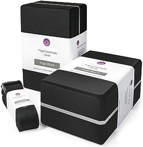 Levoit Premium Yoga Blocks 2 Pack & Strap, High Density EVA Foam Yoga Bricks to Support, Deepen Poses, Improve Strength, Balance and Flexibility, Lightweight, Odor Resistant and Moisture-Proof