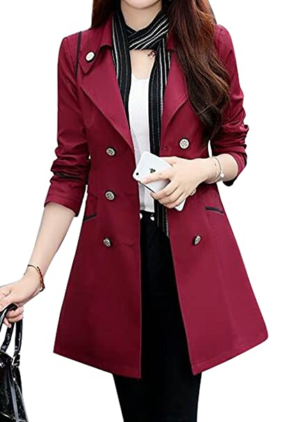 c2b3dd4c5dd Fensajomon Womens Lapel Long Sleeve Double-Breasted Classic Trench Coat  Overcoat 3 S