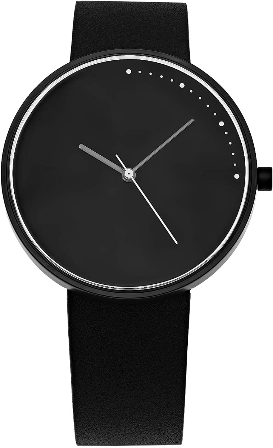 Abstrait LA : Crescent Minimal 42mm Stainless Steel : Quick Release Genuine Leather Japanese Quartz Watch