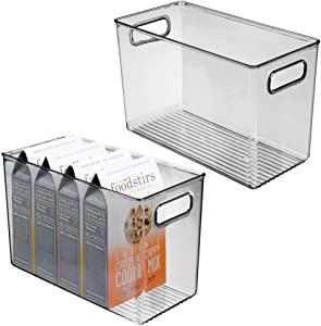 mDesign Plastic Food Storage Container Bin with Handles - for Kitchen, Pantry, Cabinet, Fridge/Freezer - Narrow for Snacks, Produce, Vegetables, Pasta - BPA Free, Food Safe - 2 Pack - Smoke Gray