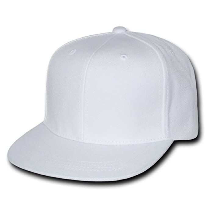 8188710d57f DECKY Plain Solid Fitted Flat Bill Baseball Cap White (7 at Amazon ...