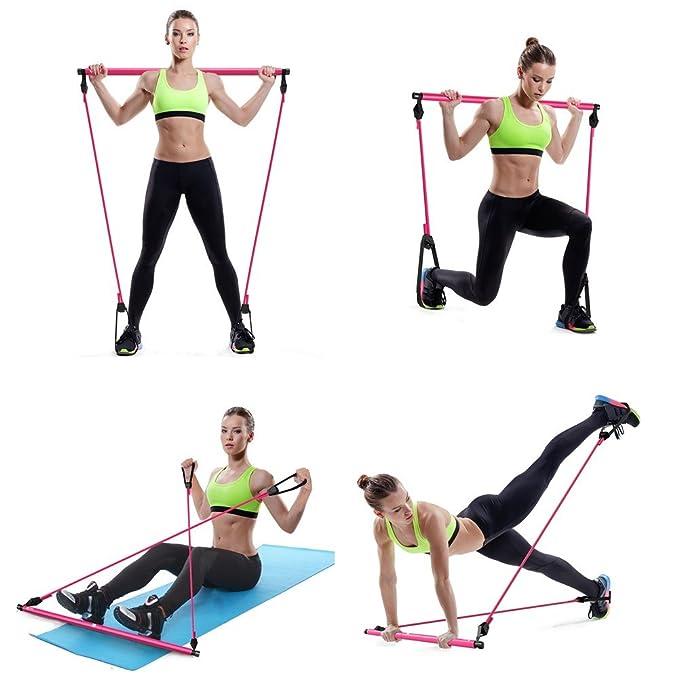 Amazon.com: Ueasy multifunción barra de Pilates cuerda ...