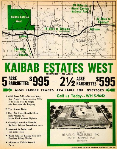 1962 Ad Kaibab Estates West Republic Properties Scottsdale Ranchettes Tracts   Original Print Ad