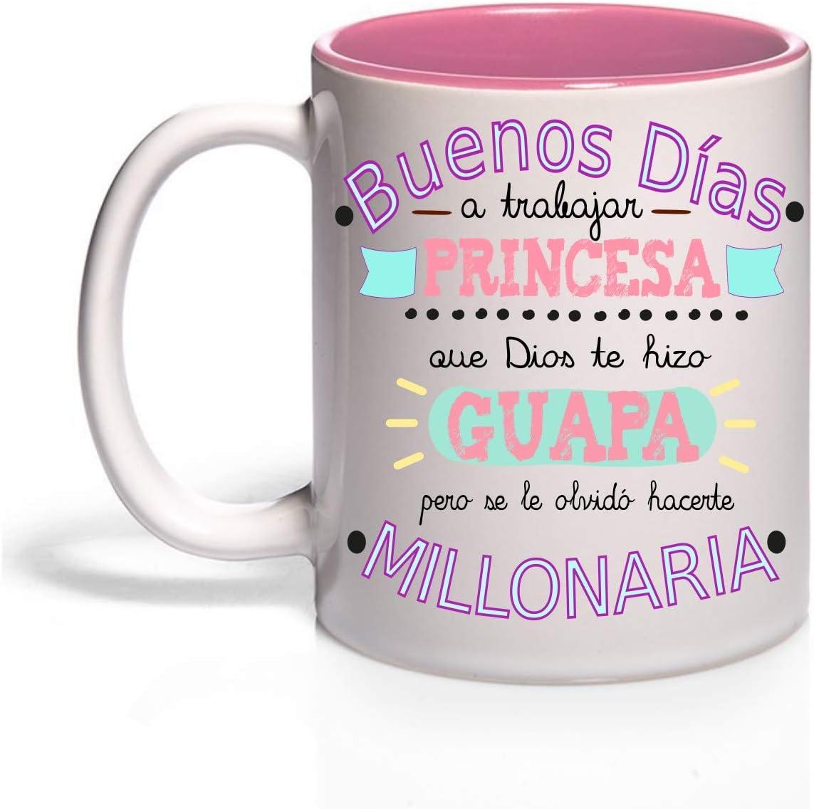 FUNNY CUP Taza Buenos Días Princesa Que Dios te Hizo Guapa Pero se le olvidó hacerte millonaria (Rosa): Amazon.es: Hogar
