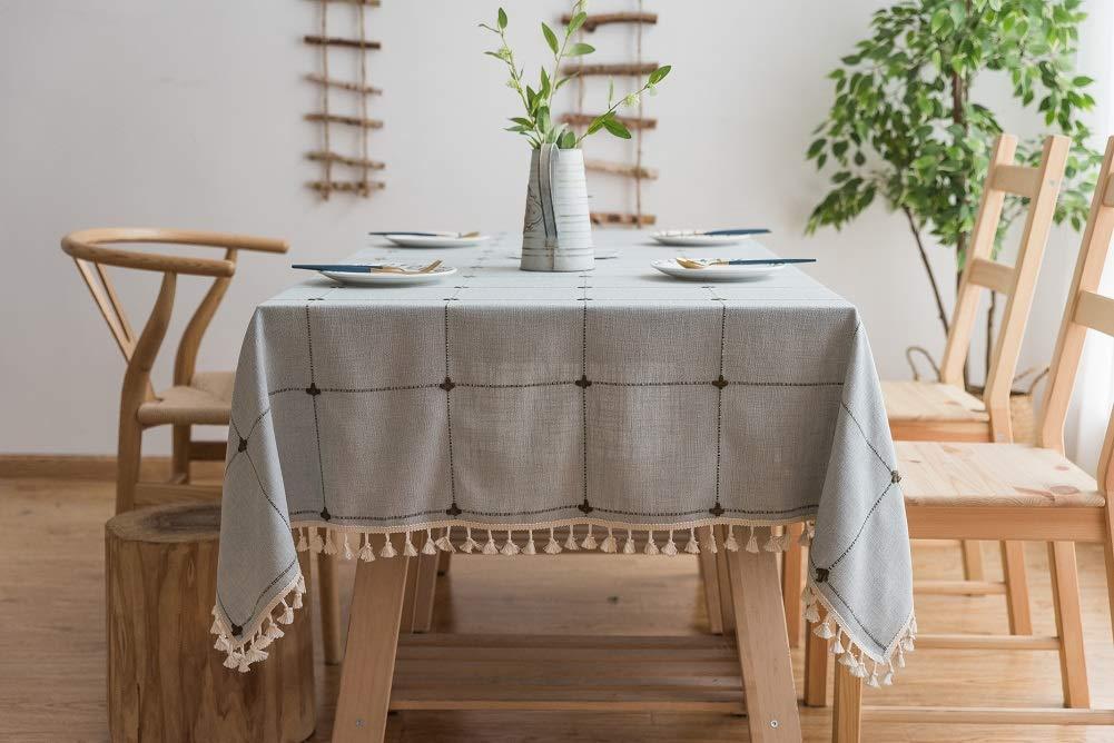 Lanqinglv Quaste Tischdecke 140x220 Beige Kariert Baumwolle und Leinen Tischtuch Rechteck Couchtisch Tischdecke Gartentischdecke Abwaschbar Küchentischabdeckung für Speisetisch (140x220,Beige) B07MM4W7TW Tischdecken