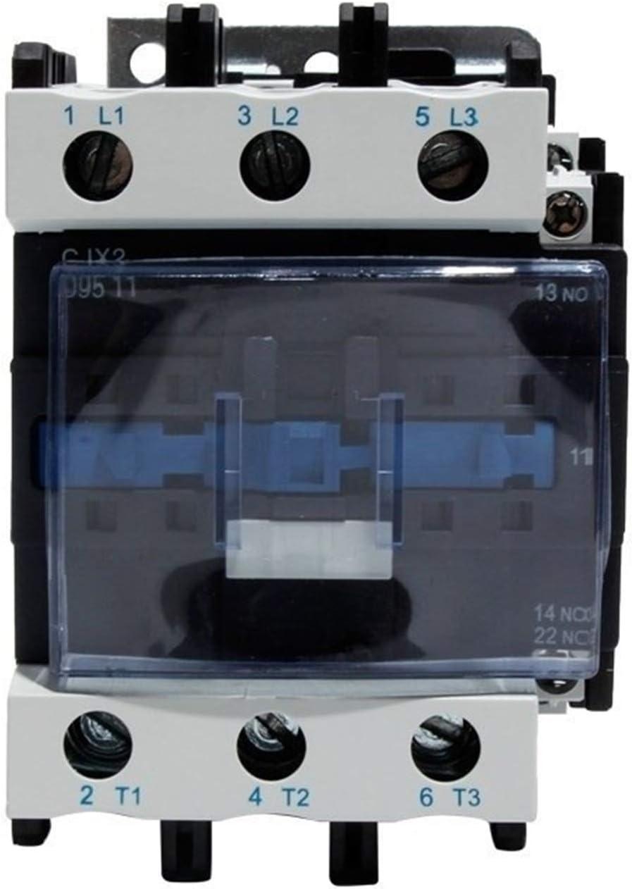 FMN-Box, 1pc CJX2-9511 95A contactor de la CA NA NC Voltaje de la Bobina del contactor 24V 36V 110V 220V 380V Normal Abierto Cerrado alterna Contactor Actual (Color : AC 48V)