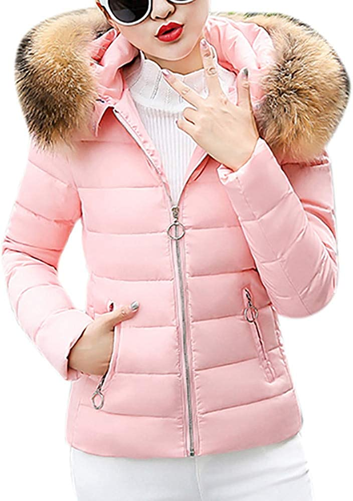Outwear Quilted Winter Warm Fur Collar Hooded Thicken Jacket Tops E-Scenery Women Coats