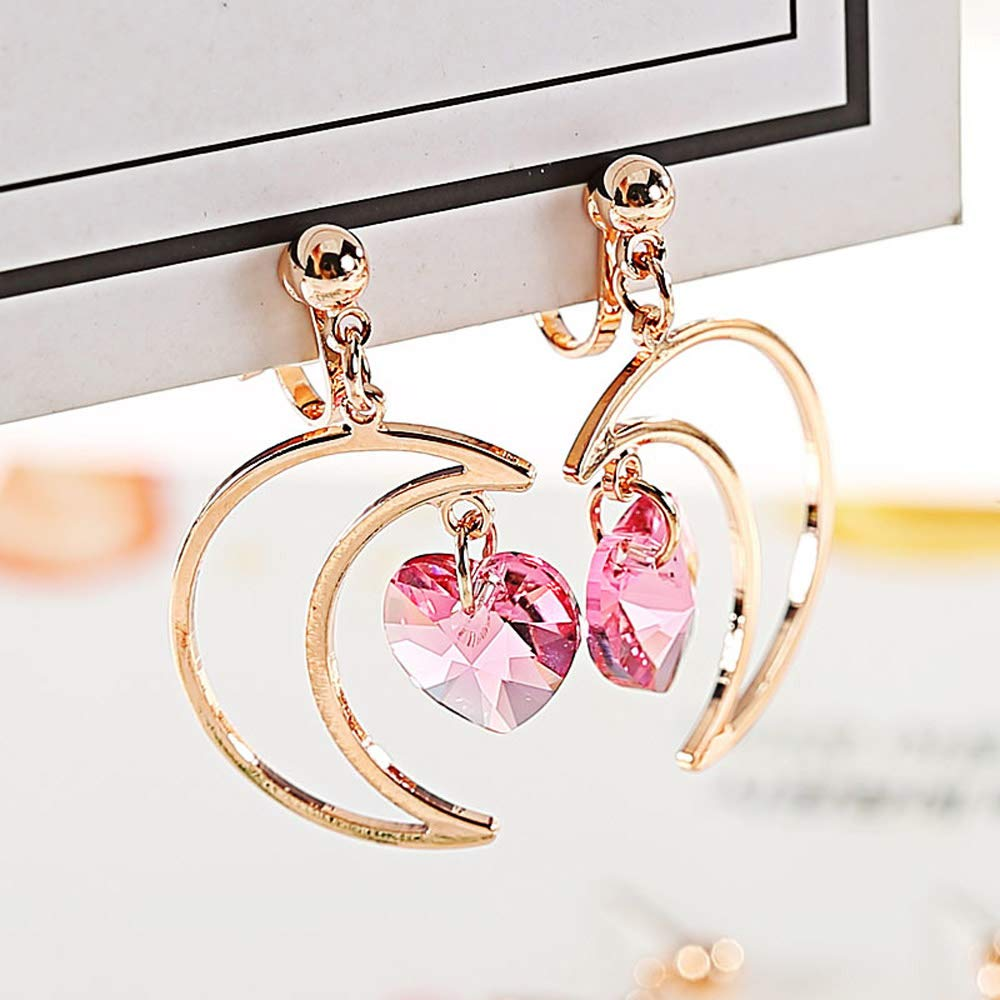 Clip on Earrings Moon Heart Crystal Dangling Daughter Girls Kids Teens I Love You to The Moon and Back