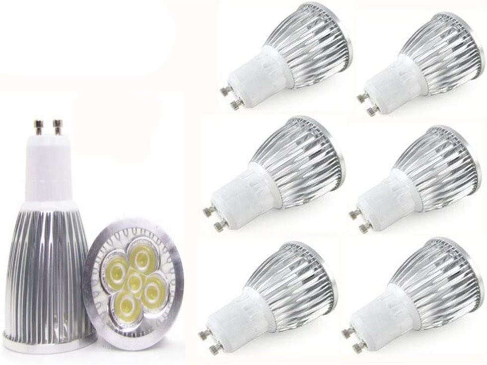 JKLcom GU10 LED Light Bulb 6 Pack,MR16 GU10 LED Light,5W Spotlight Bulbs for Track Lighting Recessed Lighting,110V,6000K Daylight White,Non-Dimmable,60 Degree Beam Angle,50W Halogen Bulbs Equivalent