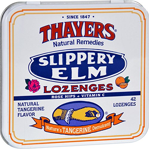 - Thayers Slippery Elm Lozenges Tangerine - 42 Lozenges - Case of 10