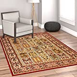 Cheap Sultan Panel Multi Color Red Oriental Area Rug Persian Formal Traditional Area Rug 11′ x 15′ Easy Clean Stain Fade Resistant Shed Free Modern Classic Contemporary Thick Soft Plush Living Dining Room