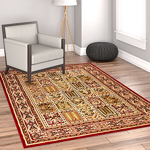 Sultan Panel Multi Color Red Oriental Area Rug Persian Formal Traditional Area Rug 5' x 7' Easy Clean Stain Fade Resistant Shed Free Modern Classic Contemporary Thick Soft Plush Living Dining Room - Panel Red Area Rug