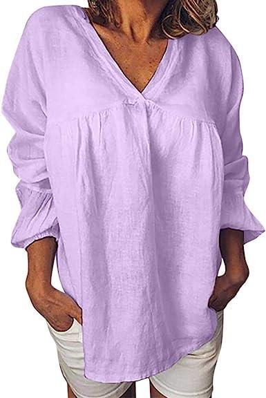 AIni Camisa Mujer Casual Vestido Color SóLido Top Manga Larga TúNica Cuello Redondo Camisa Ligera Sudadera con Capucha La Camiseta Se Ajusta Al Vestido De Carnaval Blusa Festiva: Amazon.es: Ropa y accesorios