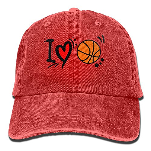 Qbeir Adult Cowboy Cap Hat I Love Basketball Adjustable Cotton Denim Sunscreen Fishing Outdoors Retro Visor