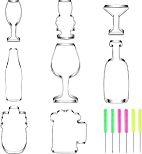 8 Pieces Wine CookieCutters Set with Beer Glass, Champagne Glass, Wine Glass, Margarita Glass, Beverage Glass, Wine Bottle Stainless Steel Fondant Biscuit Cutters and 6 Pieces Sugar Stirring Pins