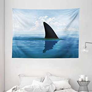 "Ambesonne Shark Tapestry, Shark Fish Fin Over The Sea Surface Danger Caution Themed Picture, Wide Wall Hanging for Bedroom Living Room Dorm, 80"" X 60"", Blue"