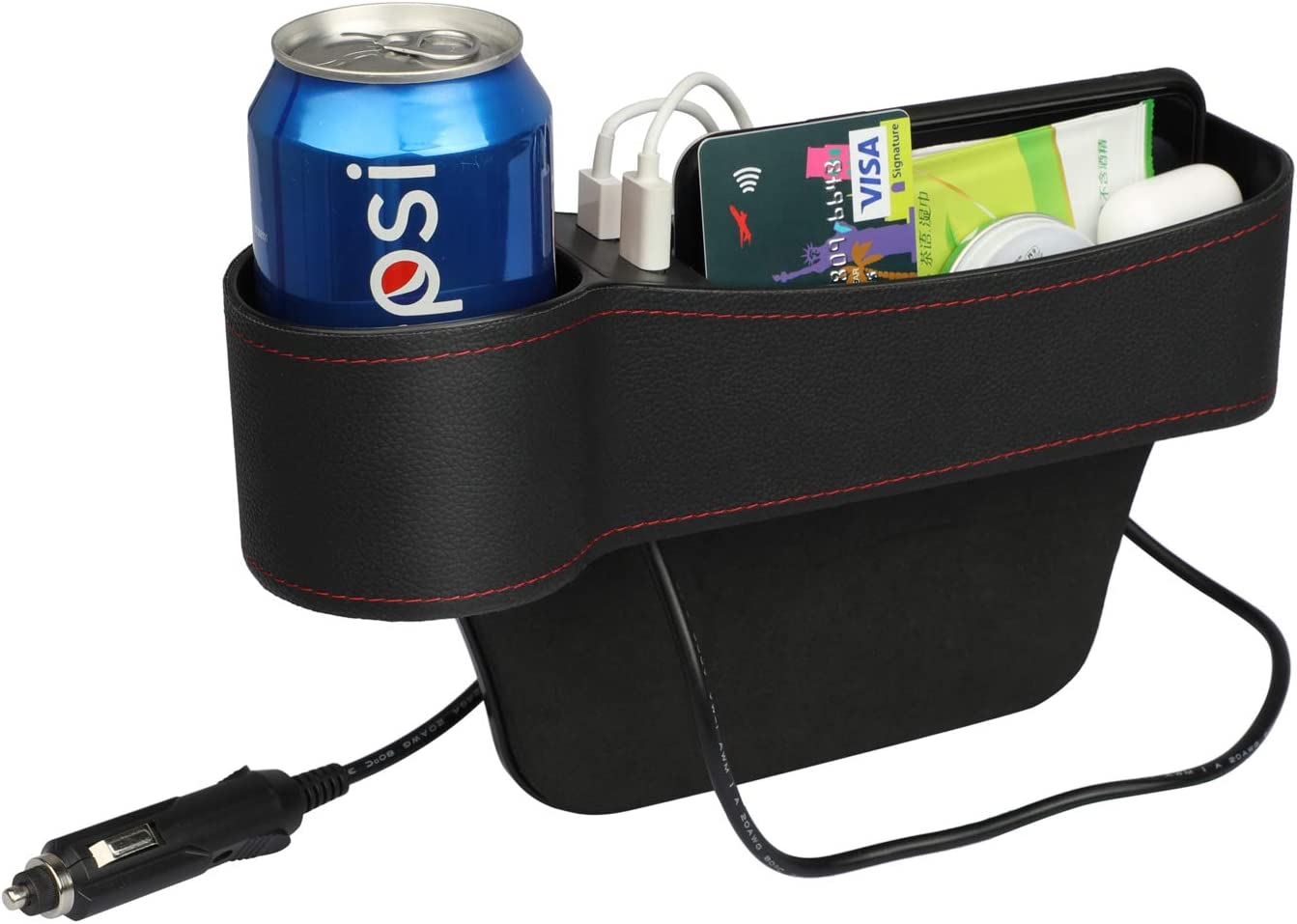 for Driver Side Car Seat Pockets PU Leather Car Console Side Organizer Seat Gap Filler with Big Cup Holder 2 USB Chargers