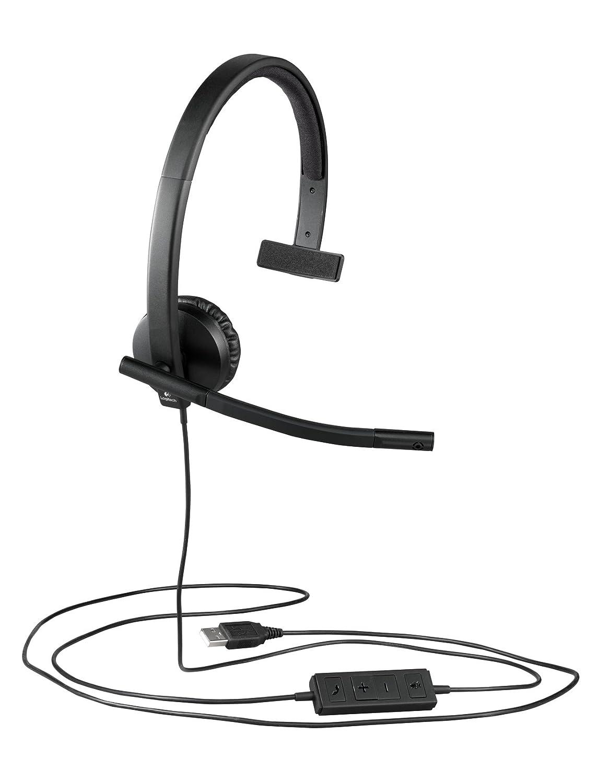Logitech H570E Cuffie USB Mono, Nero/Antracite