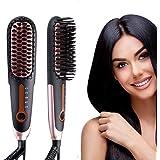 Hair Straightening Brush 3.0, Buture Travel Hair Straightener Brush Negative ion Ceramic Iron Hair Brush Fast Heat Hot Brush Mini Size Anti-scald MCH 110-240V Auto Off Temperature Lock