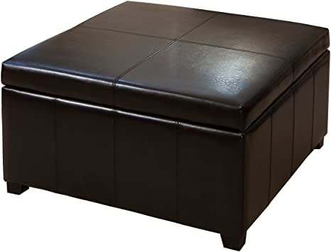 Amazon Com Best Selling Forrester Brown Leather Square Storage Ottoman Furniture Decor