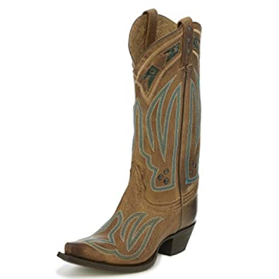 """Women's Cuero Brown 13"""" height (VF3045)  Foot Brown Baja  Pullon Western Boots  Brown Cowboy Leather Boot  Handcrafted In The USA"""