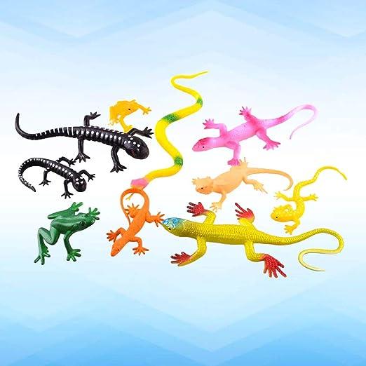 12PCS Mini Lézard Gecko en Plastique Figures Cadeau Jouet Enfant Coloré