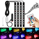 LED Car Interior Lights,4pcs DC12V 36 LEDs RGB 16 Colors LED Strip Light, Car Styling Decorative Lights, Car Styling Atmosphere Lamps With Remote Controller, Car Charger Included