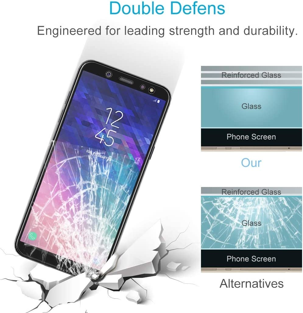 Screen Protector Film LGYD 100 PCS 0.26mm 9H 2.5D Tempered Glass Film for Galaxy A6+ 2018