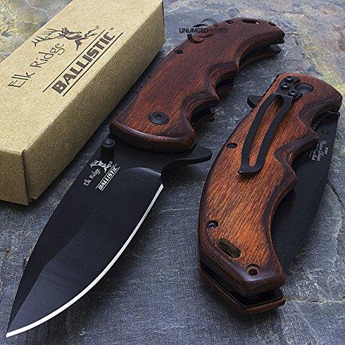 8.25' ELK RIDGE EDC BROWN PAKKAWOOD ASSISTED TACTICAL FOLDING KNIFE Blade