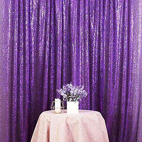 Purple Glitter Backgrounds - LYLYCTY 8x8ft Purple Glitter Backdrop Pack Foil Curtains Metal Fringe Curtain Photography Background and Birthday Wedding Party Decoration Backdrop LY178
