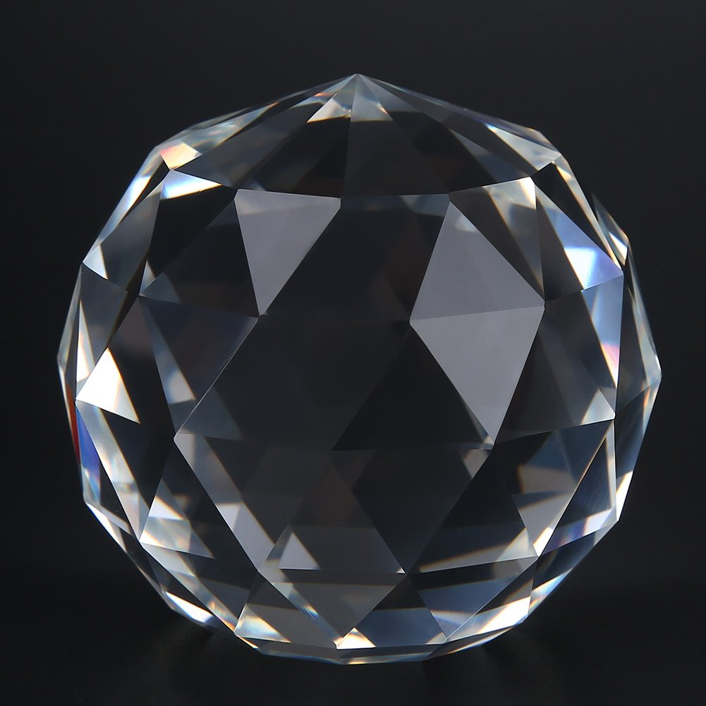 Clear Cut Crystal Prisms Glass Ball, K9 Crystal 110mm 4.3'' Art Decor Faceted Prism Balls with Wooden Stand Package for Home Decor Bar Restaurant