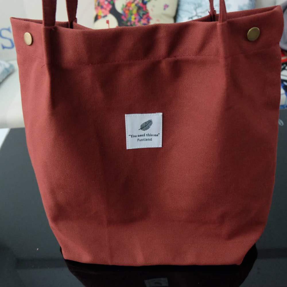 Funtlend Damen Handtasche Gro/ß Canvas Tasche Damen Umh/ängetasche Henkeltasche Damen f/ür M/ädchen Schule Uni-Upgraded-40 35 11