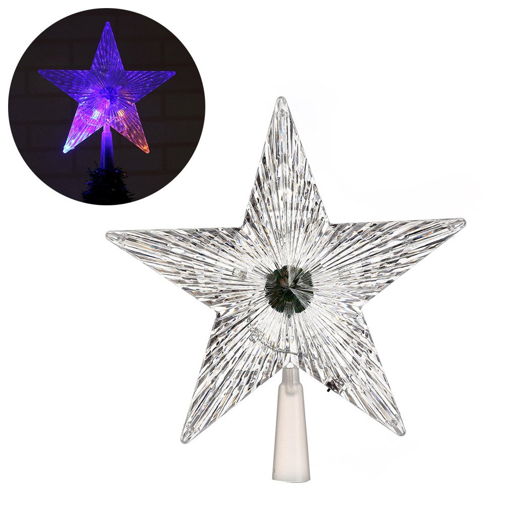 rokoo Albero di Natale Top Star brillante di Natale parete trasparente LED luminoso albero corona Stars Christmas Party Festival Ornamento, Small