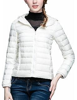 b364e55891a Femme Doudoune Ultra Légère Printemps ou Automne Veste Duvet de Canard  Blanc à Capuche Zippée Manches