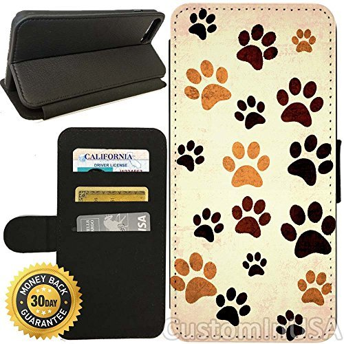 Wallet Paw Prints (Flip Wallet Case for iPhone 7 Plus (Paw Print Design) with Adjustable Stand and 3 Card Holders | Shock Protection | Lightweight | by Innosub)