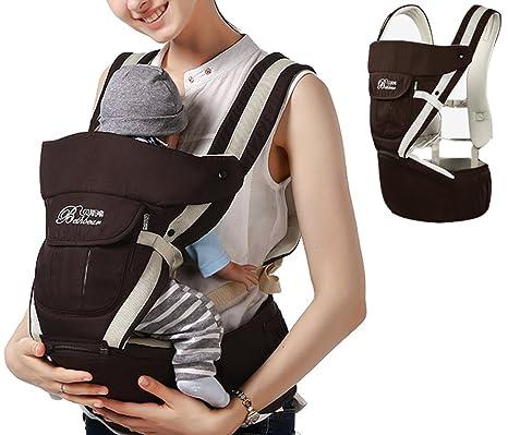 Mochila portabebés ajustable de 4 posiciones con estructura ergonómica ajustable y suave