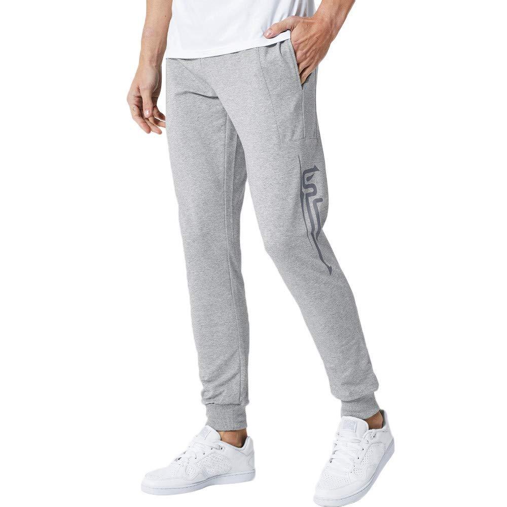 Colmkley Mens Casual Elastic Waist with Drawstring Pockets Joggers Sweatpants