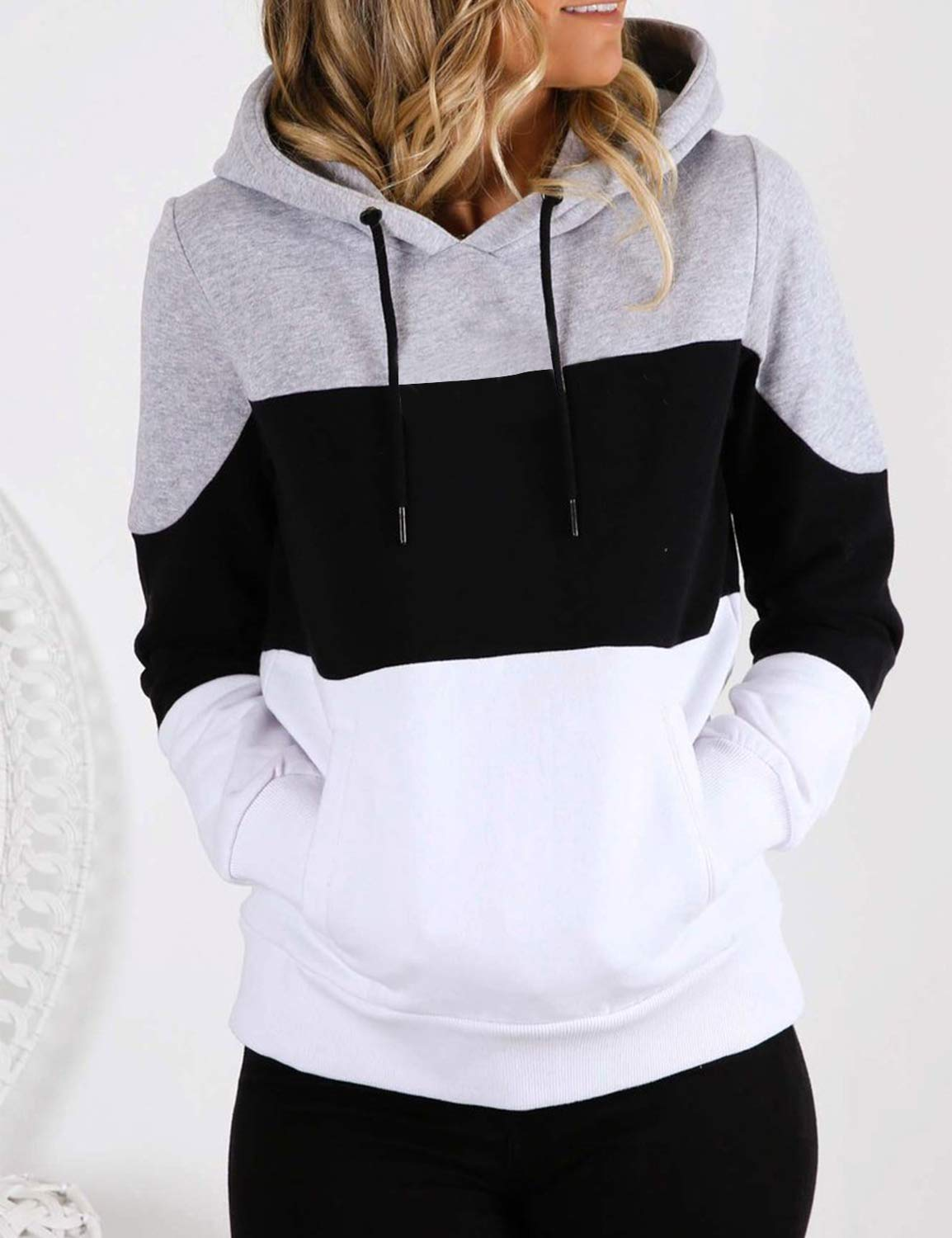 Blooming Jelly Womens Pullover Hoodie Long Sleeve Colorblock Terry Hooded Sweatshirt Top with Pocket(S,Black)