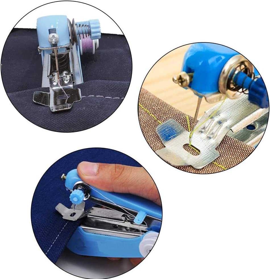 Clothes Quick Repairing Suitable for Home Travel Cloth Mini Handheld Sewing Machine Portable Electric Small Sewing Machine Kit for Beginner Pet Clothes Curtain